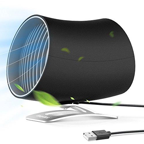 EasyAcc USB Ventilator Doppelblatt Mini Tischventilator Berührungsschalter Tragbarer Persönlicher USB Lüfter mit und 2 Verstellbarer Lüfter für Büro Zuhause usw - Schwarz