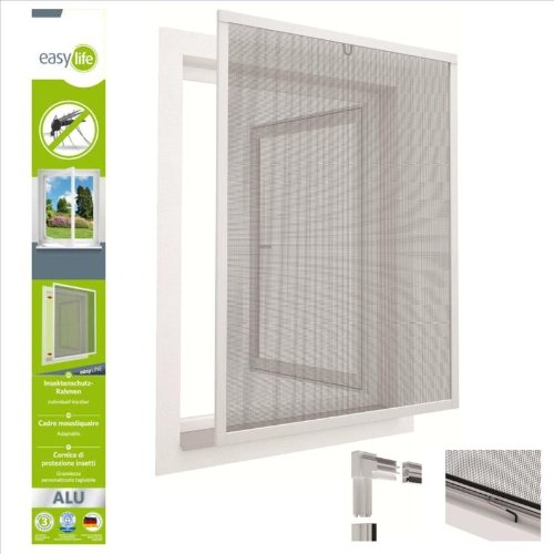 Insektenschutzfenster Alu Fliegengitter Fenster 80 x 100 cm Grau