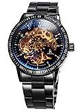 Alienwork IK mechanische Herren Edelstahl Automatik Armbanduhr, Uhr Ø 42mm, Metallarmband Skelett Herrenuhr mit analogem Zifferblatt, edel und sportlich in Schwarz/Gold-Uhrwerk/Photochromes Glas