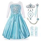 KABETY Mädchen Prinzessin Anna Kleid Schnee königin ELSA Kostüm Party Kleid,4 Jahre (Hersteller Größe:110) ,Hell Blau mit Zubehör