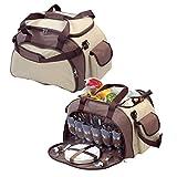 elasto Picknicktasche 40-Teilig 'Meadow' Outdoor Umhängetasche Schultertasche Campingset Geschirr für 6 Personen