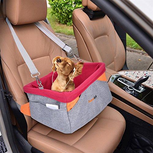 Autositz Hund, Legendog Hundetransportbox | Hundetragetasche | Transportbox für Hunde | Wasserdichter Autositzbezug für Hunde | mit Kissen und verstellbarem Gurt | Kleine Hunde Welpen Katzen | 41 * 32 * 21 CM (Hund Autositz)