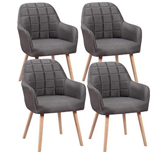 HENGMEI Esszimmerstühle 4er Set Wohnzimmerstuhl Küchenstühle Bürostuhl mit armlehne für Küche, Büro, Konferenzzimmer (Grau, 4er Set)