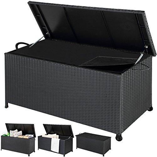 Deuba Auflagenbox | Poly Rattan | Hubautomatik | Innenplane | Wetterfest | Rollbar | Kissenbox Gartentruhe Gartenbox Kissentruhe | Schwarz | 122x56x61cm |
