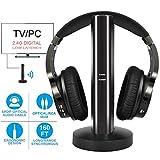TV Funkkopfhörer , Over-Ear Kabellose Kopfhörer mit 2.4GHz Digitales Ladestation für Fernseher HiFi DVD, Sender mit Optisches und Aux Port