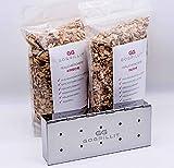GOGRILLIT Räucherbox/Räucherschale - Premium Smoker-Box aus rostfreiem Edelstahl - das perfekte Grillzubehör zum Räuchern - für jeden Holzkohle- und Gasgrill geeignet (Metall, Set mit Räucherholz)