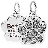 TagME Personalisierter Hund & Katze Marke/Hundemarke aus Edelstahl mit eingraviertem Namen und Telefonnummer/Prickelnde Katzenmarke in Pfotenform/Klein/Silber