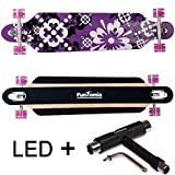 FunTomia Longboard Skateboard Drop Through Cruiser Komplettboard mit Mach1 ABEC-11 High Speed Kugellager T-Tool (Modell Freerider2 - Farbe lila Blume mit LED Rollen + T-Tool)