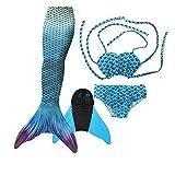 GNFUN Meerjungfrau Schwanz mit Meerjungfrau Badeanzug Schwanzflosse Zum Schwimmen Kostüm Für Kinder Mädchen Bikini Set und Monoflosse, 4 Stück Set, Xy-aqua Blue, 140-150cm