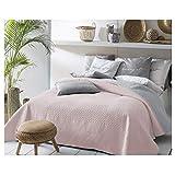 JEMIDI Bett und Sofaüberwurf XL Doppelbett gesteppt 220 x 240 Tagesdecke Überwurf Husse Decke XXL Tagesdecken Steppdecke gesteppt (Rosa/Grau)