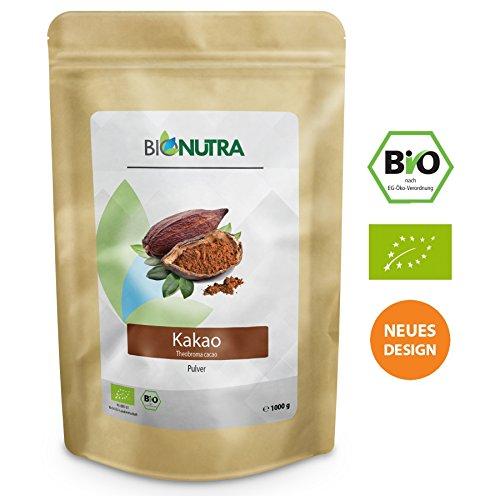 BioNutra Kakao Pulver Bio 1000 g, Kakaopulver gemahlen aus Criollo Bohnen, Herstellung EU, kontrolliert biologischer Anbau