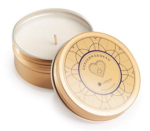 Deluxe Aroma Massagekerze Herzerwärmend, pflegendes Massagewachs in goldener Dose, Massage Duftkerze aus natürlichen Soja & Kokosölen