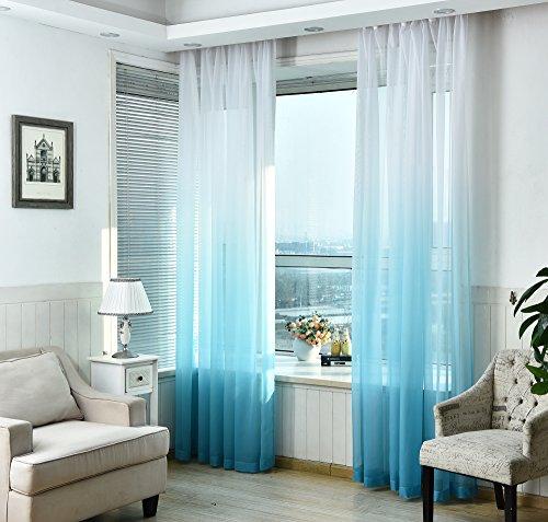 Nibesser Vorhänge Transparent Schlaufenschal Gardine Dekoschal Voile mit Ösen für Schlafzimmer Wohnzimmer 2er set (140Bx245H cm, Weiß und Blau)