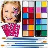 Lictin Kinderschminke Set Schminkpalette Face Paint 23 Farben Schminkset mit 5 Schablonen für Kinder Partys Weihnachten Fasching Gesichtsfarben