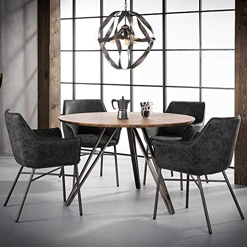 Pharao24 Runder Tisch in Eiche und Stahl 120 cm breit