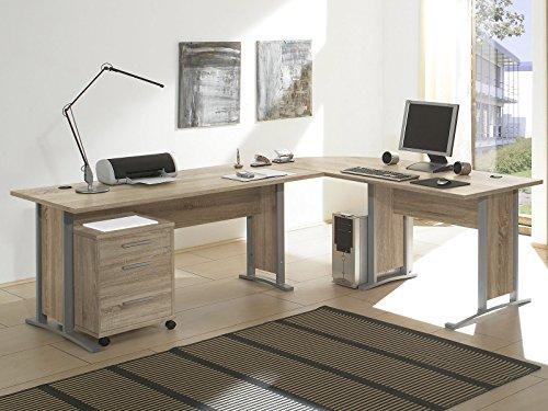 Schreibtisch-Kombination Winkelschreibtisch Bürotisch Arbeitstisch 'Clermont I' Sonoma-Eiche