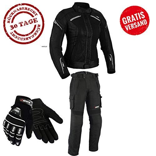 DAMEN MOTORRADKOMBI JACKE + HOSE + HANDSCHUHEN - BIKE MOTORRAD ROCKER TOURING (M)