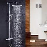 Hausbath Duschbrause-Set Überkopfbrause-Set Regal Duschsystem Sets mit Thermostat Duschset mit Rainshower Duscharmatur Handbrause Duschkopf Regendusche Dusche Armatur Badewanne Badezimmer (Eckig)