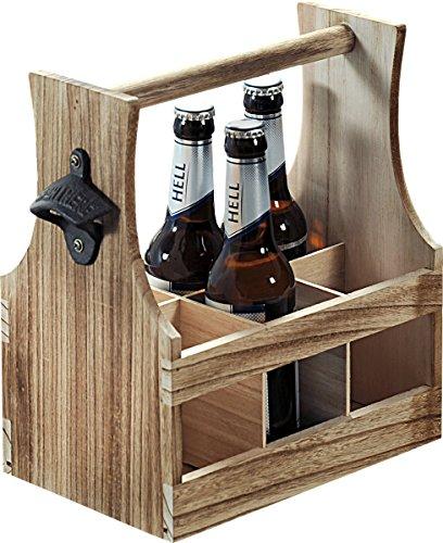 Kesper 69266 13 Flaschenträger Holz Braun