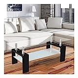 Corium Couchtisch - Wohnzimmertisch 100 x 50 x 58 cm Glasplatte Schwarz Tisch / Glastisch / Beistelltisch / Wohnzimmer / Hochglanz