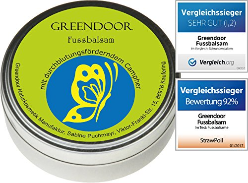 Greendoor Fussbalsam mit BIO Kakaobutter, jetzt den VERGLEICHSSIEGER kaufen, Fusscreme + Schrundensalbe, 4-fache Ergiebigkeit, Naturkosmetik, Fuß Balsam, Fuss-Pflege Creme