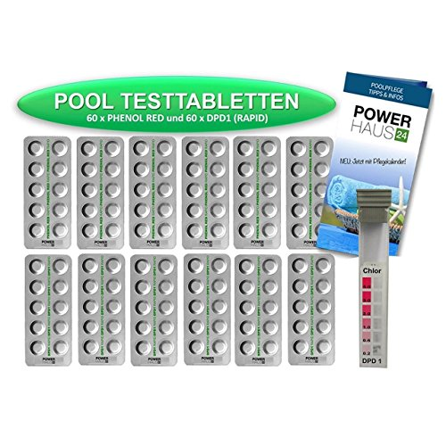 POWERHAUS24 - 120 Testtabletten 60 x pH-Wert Phenol Red und 60 x DPD1 Chlor - inkl. Messkammer