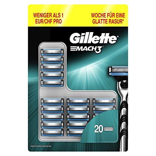 Gillette Männer Mach3 Rasierklingen, 1er Pack (1 x 20 Stück)