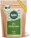 Hanfprotein Pulver 50% (Bio, 1kg) - 1000g Bio Hanfproteinpulver - vegan - 50% Proteingehalt - Frei von Gluten, Soja und Laktose - Abgefüllt und kontrolliert in Deutschland (DE-ÖKO-005)