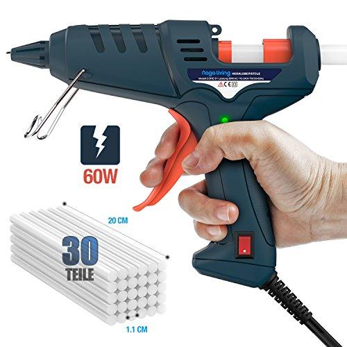 Heißklebepistole, Nagaliving 60 Watt Schnelle Heizung Klebepistole + 30 Klebepistole Sticks 11MM, High-Tech-Elektronik PTC Heiztechnik Für Arts & Crafts, Sealing und Quick Repairs.