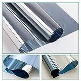 RH Art Fenster Spiegelfolie Selbstklebend Sichtschutz Folie für Fenster Blickdichte Sonnenschutzfolie Wärmeisolierung - Silber, 44 x 200 cm