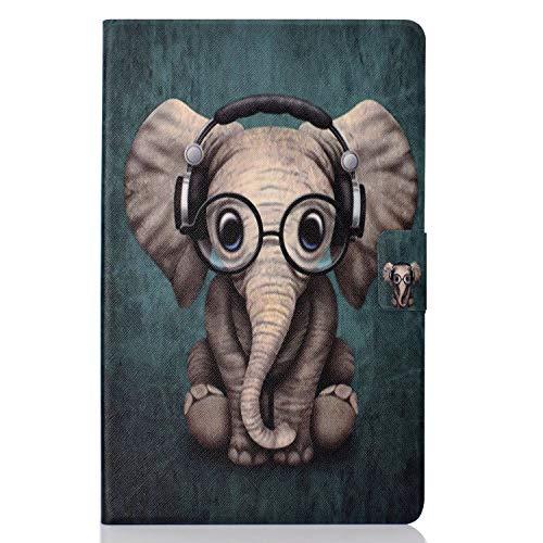 Lspcase Kompatibel für Samsung Galaxy Tab A 10.5 Zoll SM-T590 T595 PU Schutz Hülle Flip Cover Wallet Hardcase im Bookstyle mit Standfunktion Karteneinschub und Magnetverschluß Etui Baby Elefant