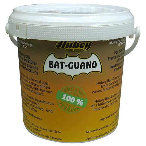 Hubey Bat-Guano - 1kg Eimer - 100% Fledermauskot - Fledermausdünger - biologischer Naturdünger - für Gartenerde - für Freilandanbau & Indoor-Anbau