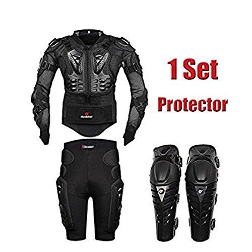 AKAUFENG Motorrad Protektorenjacke mit Feste Protektorenhose + Knieprotektoren Protektorenanzug Motorrad S-5XL