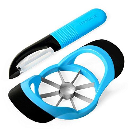 LEMCASE Apfelschneider, Apfelschäler (2 Stück Set) - Apfelteiler - Obstschneider aus Silikon Griff | Blau