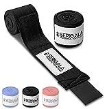 Serigala 4,5m Boxbandagen mit Daumenschlaufe - Halb elastische Bandagen Boxen mit extra breitem Klettverschluss - Kampfsport Bandagen für Thaiboxen, Kickboxen, MMA und Muay Thai Schwarz