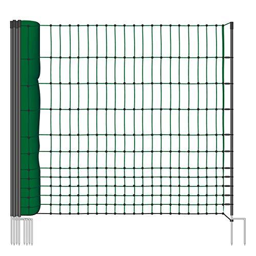 VOSS.farming Geflügelnetz 112cm Classic 25m | Hühnerzaun Geflügelzaun Hühnernetz | 9 Pfähle 2 Spitzen | Grün | ohne Strom