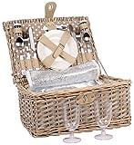 2 Personen Weiden Picknickkorb Picknickkoffer Set Besteck, Wein Gläser, Teller …