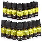 Woodland Natürliche ätherische Öle mit Aromatherapie Buch (10ml,16 Flaschen Set) 100% Reiner, Therapeutischer Grad | Diffuser, Bad, Massage | Lavendel, Pfefferminz, Teebaum | Entspannung, Medidation
