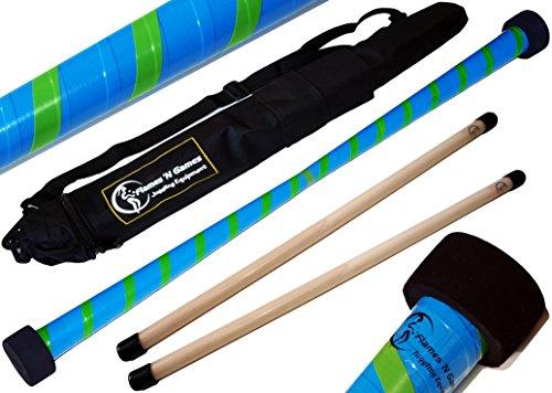 TWIST Devilstick (Blau/Grun) inkl. Holz Handstäbe mit 2 mm Silikonmantel + Reisetasche! Flames N Games Devil stick Set Für Kinder und Erwachsene.