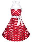 Zarlena Damen Rockabilly Kleid Polka Dots Punkte Tupfen Retro 50er Neckholder Rot mit weissen Dots S 606--S