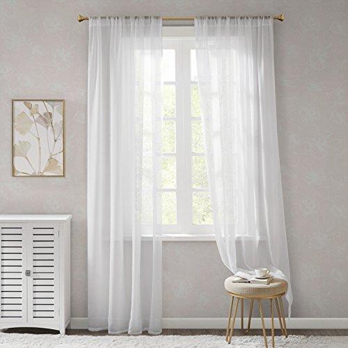 Stores Voile Gardinen Schals Weiß Transparent Leicht & Soft Wohnzimmer Vorhänge für Große Fenster Organza, Lang (2er-Set, je 245x140cm)