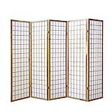 Homestyle4u 76 Paravent Raumteiler 5 teilig 5-fach Holz in Natur weißes Shoji Reispapier Trennwand Spanische Wand Höhe 175 cm zusammenklappbar
