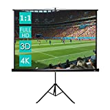 CCLIFE Beamer Leinwand Stativ - Format 1:1, Mobile Beamerleinwand, Geeignet für Heimkino und Business, Volle HD, 3D, 4K-Leinwand einsetzbar, 2 jahre Garantie, Größenwahl, Größe:203 x 203 cm