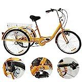 YUNRUX Dreirad Für Erwachsene 24 Zoll 6 Geschwindigkeit 3 Rad Gelb Fahrrad Dreirad mit Licht 3 Rad Erwachsene Fahrrad mit Warenkorb 24 Zoll 6 Gänge Erwachsenendreirad Dreirad für Erwachsene Gelb