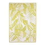 Pureday Outdoor-Teppich Lagos - Wendeteppich - 100% Polypropylen - Gelb Weiß - ca. 120 x 180 cm
