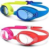 Kinder Schwimmbrille, OutdoorMaster lustige Fisch-Stil Schwimmbrille für Kinder (4-12 Jahre), lecksicher Schwimmbrille für Jungen Mädchen, Anti-Fog & UV Schutz & Schnell zu verstellen (1/2er Pack) (2 Pack Blau/Gelb +rosa/Pink)