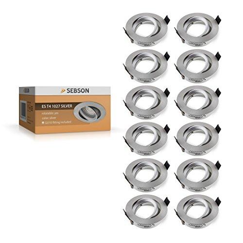 SEBSON Einbauleuchte schwenkbar silber/Einbaustrahler (LED/Halogen), 12er Pack
