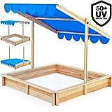 Deuba Sandkasten 140x140cm mit höhenverstellbarem und neigbarem Sonnendach UV-Schutz 50 Sandkiste Kindersandkasten Buddelkiste Sandbox Sandkiste Kinder