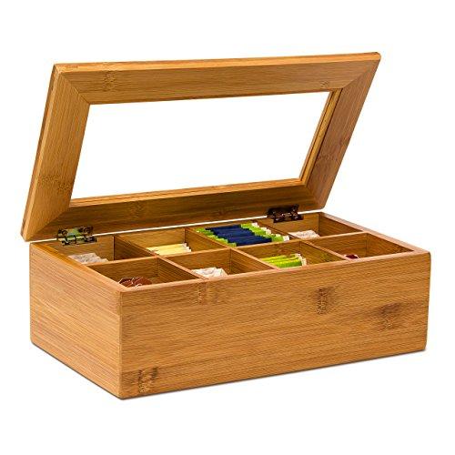 Relaxdays Teebox aus Bambus H x B x T: ca. 9 x 28 x 16 cm Teekasten mit 8 Fächern Teebeutelbox aus Holz mit Deckel samt Sichtluke Teekiste zum Bewahren des Aromas für intensiven Teegenuss, natur