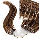 TESS Microring Extensions Echthaar Loop Haarverlängerung 0,5g Remy Human Hair Extensions 100 Strähnen 50g 55cm(#4/27 Schokobraun/Dunkelblond)